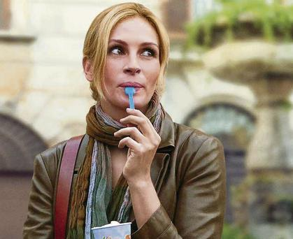 Julia Roberts in the movie Eat Pray Love. The book that the film was based on sold more than 10 million copies in 30 languages before Roberts bought the film rights and played the lead character