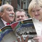 Mary Manning with Prof Kader Asmal at the unveiling of a plaque honouring the Dunnes strikers of the eighties