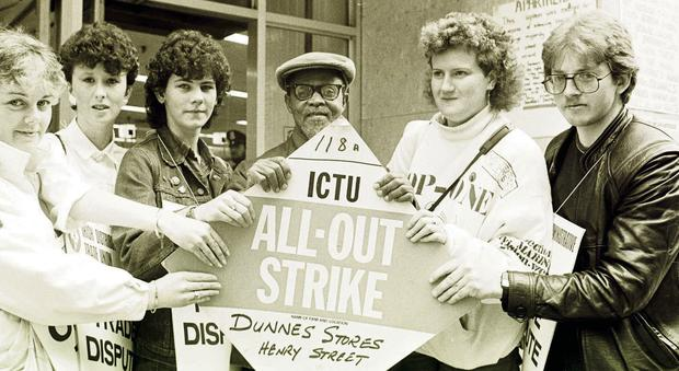 Striking Dunnes workers in 1985: Sandra Griffen, Alma Bonnie, Karen Gearon,