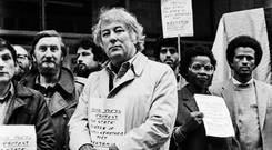 Face in the crowd: Poet Seamus Heaney attending an Anti-Apartheid protest in the Eighties, but there were many prominent public figures who were notable by their absence