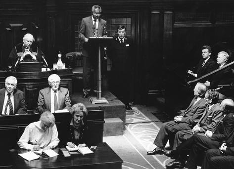 HISTORIC MOMENT: Nelson Mandela addresses the Dail during his visit in 1990