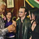 INSPIRING: The Dundalk group The Corrs played for Nelson Mandela on a number of occasions, including his 85th birthday in Johannesburg and at a concert in Galway in 2003, when Mandela stood up and danced to their music