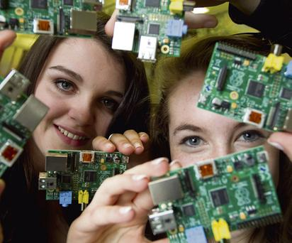 MEGABYTES: Second level students Roisin Murphy and Niamh Ellis from Colaiste Bhride in Clondalkin, Dublin, at the launch of the Bridge21 programme, a computer studies initiative