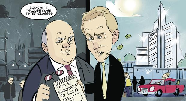 An animation of the vision of Minister Michael Noonan and Taoiseach Enda Kenny to have full employment by 2020