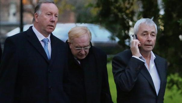 David Martin, Jim Nugent and Paul Kiely leave a PAC meeting in December. Photo: Gareth Chaney