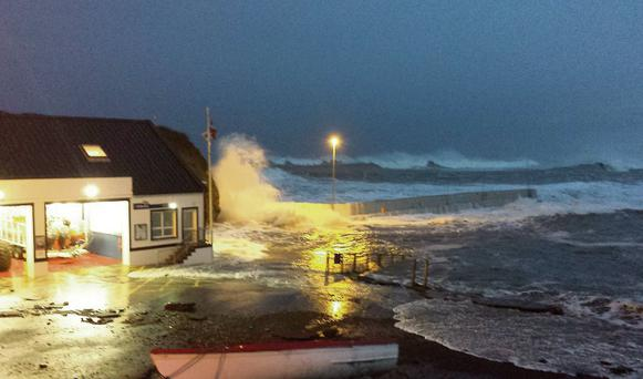 High tides and heavy swell cause damage to Bundoran Lifeboat Station.