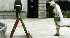 Queen Elizabeth laid a wreath to the Republican dead at the Garden of Remembrance during her 2011 visit. Photo: Reuters/Arthur Edwards