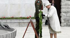 Queen Elizabeth during the wreath laying ceremony at the Garden of Remembrance in Dublin on the first day of her State visit in 2011.