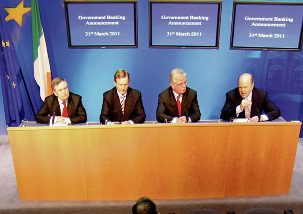 TEAM GOVERNMENT: Structures created by the Coalition have proven effective, with the Economic Management Council of (from left) Brendan Howlin, Enda Kenny Eamonn Gilmore and Michael Noonan particularly important. Photo: Gerry Mooney
