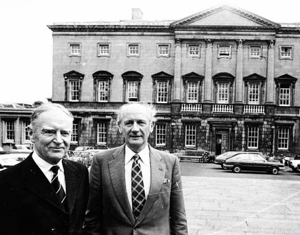 THE OLD GUARD: Liam Cosgrave of Fine Gael and Jack Lynch of Fianna Fail in 1981