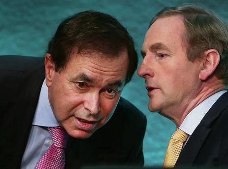 Taoiseach Enda Kenny speaking with former Minister for Justice Alan Shatter in January. Photo: Steve Humphreys