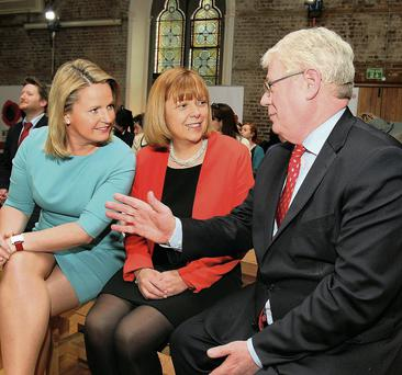 Eamon Gilmore with European hopefuls Lorraine Higgins (left) and Emer Costello
