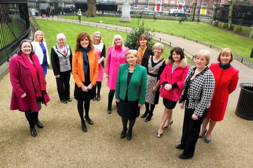 SISTER ACT: Pictured last year, Fine Gael's Marcella Corcoran-Kennedy TD, Aine Collins TD, Catherine Byrne TD, Michelle Mulherin TD, Imelda Henry TD, Mary Mitchell-O'Connor TD, Frances Fitzgerald TD, Minister for Justice and Equality; Deirdre Clune MEP, Olivia Mitchell TD, Senator Fidelma Healy Eames (who is now with the Reform Alliance), Heather Humphreys TD, Minister for Arts, Heritage and the Gaeltacht; Senator Cait Keane