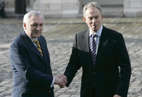 Bertie Ahern pictured with his British counterpart Tony Blair. 'The great lesson of the peace process has been that dialogue is the only way forward if profound differences, such as those which exist in Northern Ireland, are to be managed and resolved.'