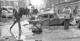 The wreckage after an IRA bomb exploded outside the Old Bailey, London in 1973. Photo: PA