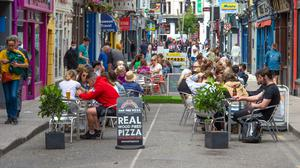 CAFE CULTURE: People dining out on Princes Street in Cork. Photo: Michael Mac Sweeney/Provision