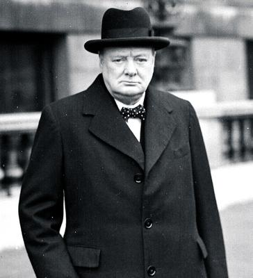 Undated file photo of former British Prime Minister Winston Churchill on his way to a War Council meeting.