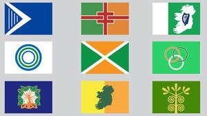 The nine flags designed by students of NCAD