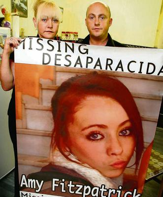 Audrey Fitzpatrick pictured with her Partner Dave Mahon and a missing poster of her daughter Amy, which will be used on Truck across Europe in an attempt to find her,at Coolock yesterday.   PIC COLIN O'RIORDAN.   SEE ALAN O'KEEFFE COPY...HN