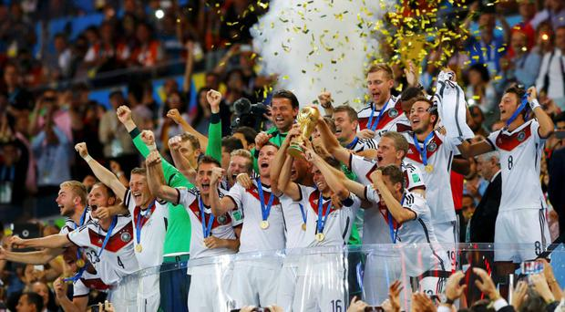 Germany celebrate with the World Cup