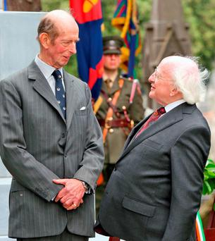 Solemnities: President Michael D Higgins with Edward, Duke of Kent at the Unveiling of the Cross of Sacrifice at Glasnevin Cemetery in Dublin. Photo: Colin Keegan/Collins