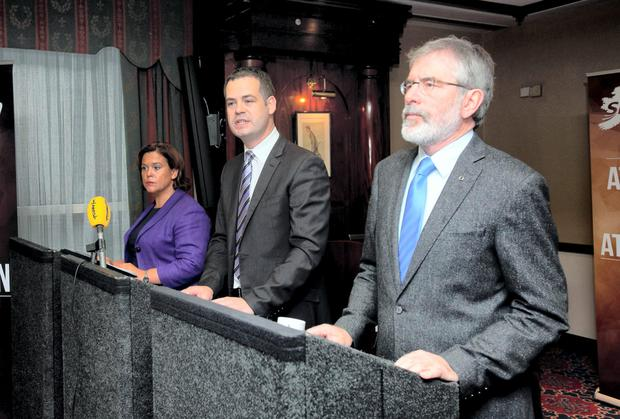 Mary Lou McDonald, Pearse Doherty and Gerry Adams of Sinn Fein