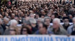Greek pensioners march in central Athens on Thursday.