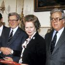 Prime Minister Margaret Thatcher (3rd right) and Irish Premier Garret Fitzgerald in November 1985
