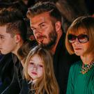 Brooklyn, David and Harper Beckham next to Anna Wintour at the Victoria Beckham Fall/Winter 2015 show last weekend. Photo: Lucas Jackson
