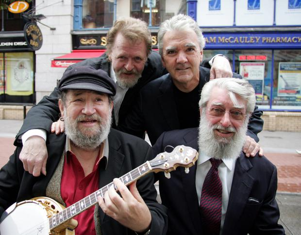 Barney McKenna & Ronnie Drew with Jim McCann and Johnnie McEvoy. Pic Tom Burke