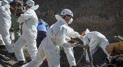 Emergency workers at the site of the Germanwings crash