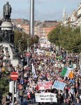VOICE OF THE PEOPLE: Crowds in Dublin demonstrating against water charges in October last year. Protesters assembled at Parnell Square before marching down O'Connell Street towards Dail Eireann on Kildare Street. Photo: Stephen Collins/Collins Photos