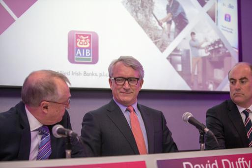 AIB's outgoing CEO David Duffy with Chairman Richard Pym and Chief financial officer Mark Bourke at the announcement of AIB's full-year results (Picture: Mark Condren)
