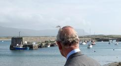 Prince Charles looking out to sea from Mullaghmore Harbour during his Irish visit