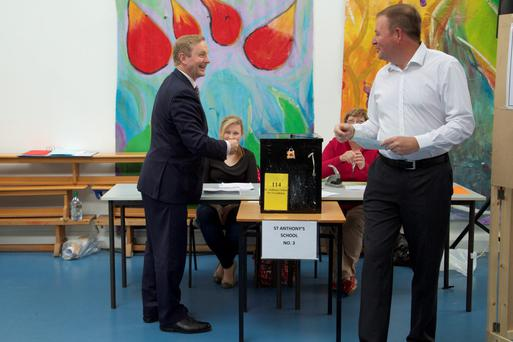 An Taoiseach Enda Kenny voting in the Marriage referendum at St. Anthony's National School, Castlebar. Photo : Keith Heneghan.