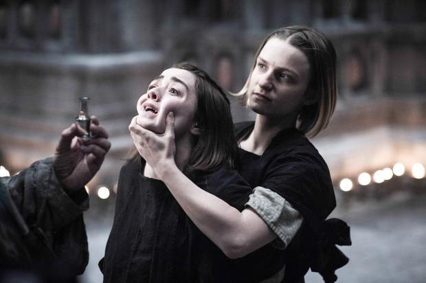 Frightened blind: Arya (left) faces the wrath of the Faceless Man in the Game of Thrones series five finale
