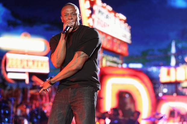 Rapper Dr. Dre performs onstage during day 3 of the 2012 Coachella Valley Music & Arts Festival