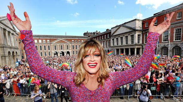 Panti at the same-sex marriage celebrations back in May at Dublin Castle. Photo: Gerry Mooney
