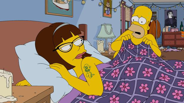 Stale: Lena Dunham guest starred in the 27th series premiere of 'The Simpsons'