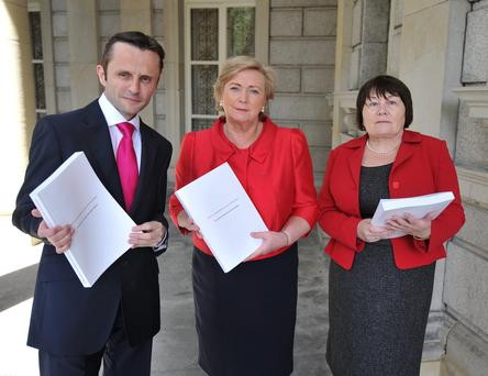The Minister for Children and Youth Affairs, Frances Fitzgerald, T.D., with co authors Dr. Geoffrey Shannon and Norah Gibbons before the publication of the report of the independent child death review group 2000-2010 at the National Library in Kildare Street