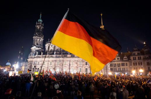 RALLY: Supporters of the Pegida movement in Dresden