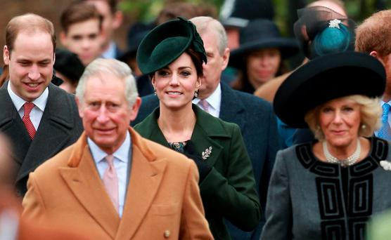 FAMILY: Britain's Prince William, Prince Charles, Catherine, Duchess of Cambridge and Camilla, Duchess of Cornwall attend Christmas Day church service. Photo: Getty