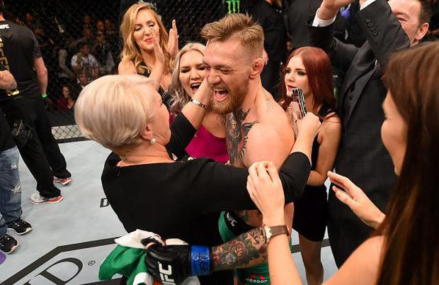 Conor McGregor celebrates with his family