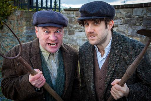 Comedy act: Alan Shortt and Abie Philbin Bowman in RTE's 'Irish Pictorial Weekly'