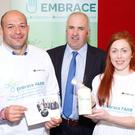 Brian Rohan, founder of Embrace Farm with Rory Best, Ulster Ambassador and Sinead McLaughlin, former Ladies Football Tyrone captain, who lost her father, Cathal, in a farming accident.
