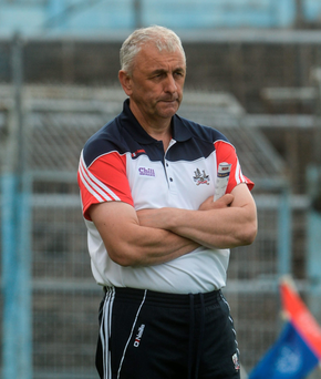 Cork manager Peadar Healy looks on during the closing moments of their Munster SFC defeat to Tipperary. Photo: Sportsfile