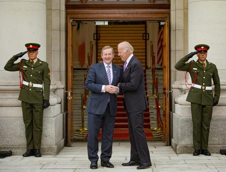 MEETING: Taoiseach Enda Kenny with Joe Biden at Government Buildings. Photo: Arthur Carron