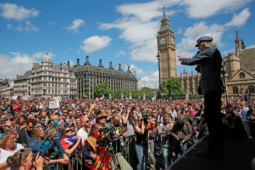 Bob Geldof addresses tens of thousands of people in Parliament Square who marched through central London in a 'March For Europe Event' at the weekend Photo:Dan Kitwood/Getty Images