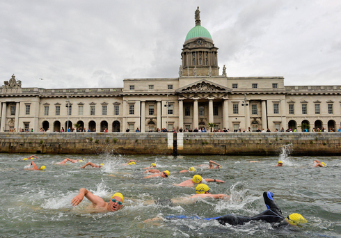 'The Liffey Swim, happening today, was first held in 1920 and immediately captured the public imagination with huge crowds lining its mile-and-a-half length from Victoria Quay to Butt Bridge.' Photo: Sportsfile