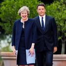 DOING BUSINESS: Italian premier Matteo Renzi and new British prime minister Theresa May pictured at a meeting in Rome last month